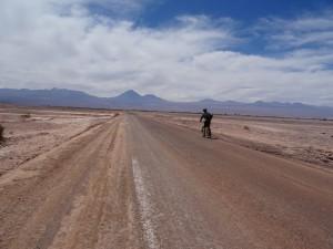 Biking through the desert road