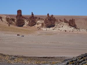Sand rock pillars