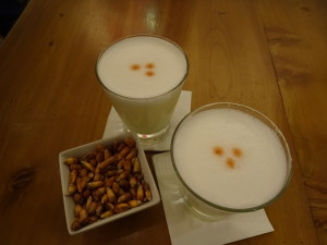 Well made Pisco sour and corns