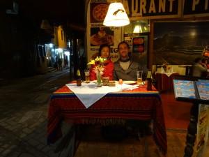 At a tourist restaurant in Machu Picchu