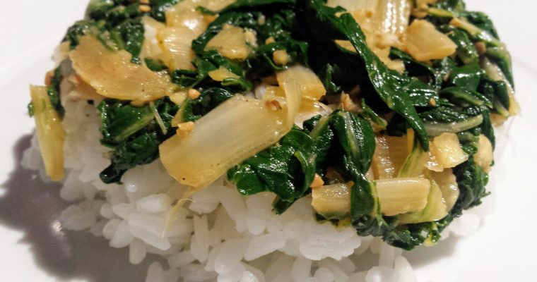 Silverbeet(Chard) recipe 2. Quick and easy Miso silverbeet